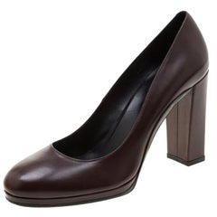 Tod's Brown Leather Block Heel Pumps Size 40