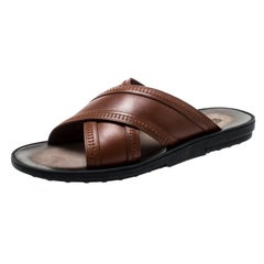 Tod's Brown Leather Crossed Strap Slider Sandals Size 42