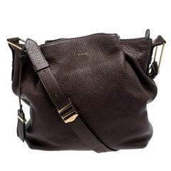 Tod's Brown Leather Flower Shoulder Bag
