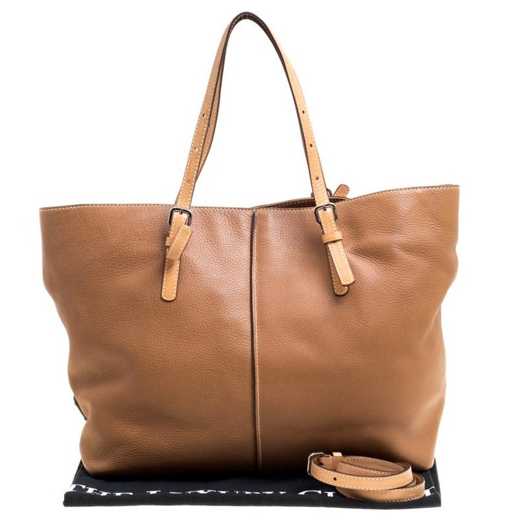 Tod's Brown Leather Grande Shopping Tote For Sale 8