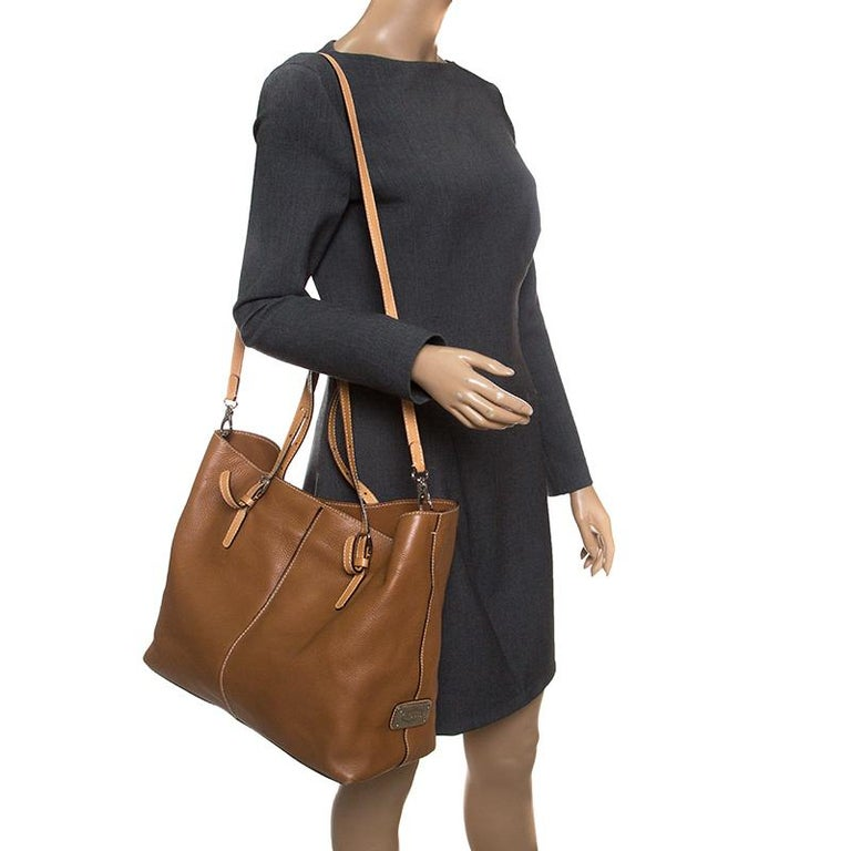 Tod's Brown Leather Grande Shopping Tote In Good Condition For Sale In Dubai, AE