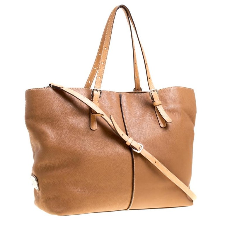 Women's Tod's Brown Leather Grande Shopping Tote For Sale