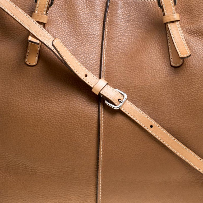 Tod's Brown Leather Grande Shopping Tote For Sale 1