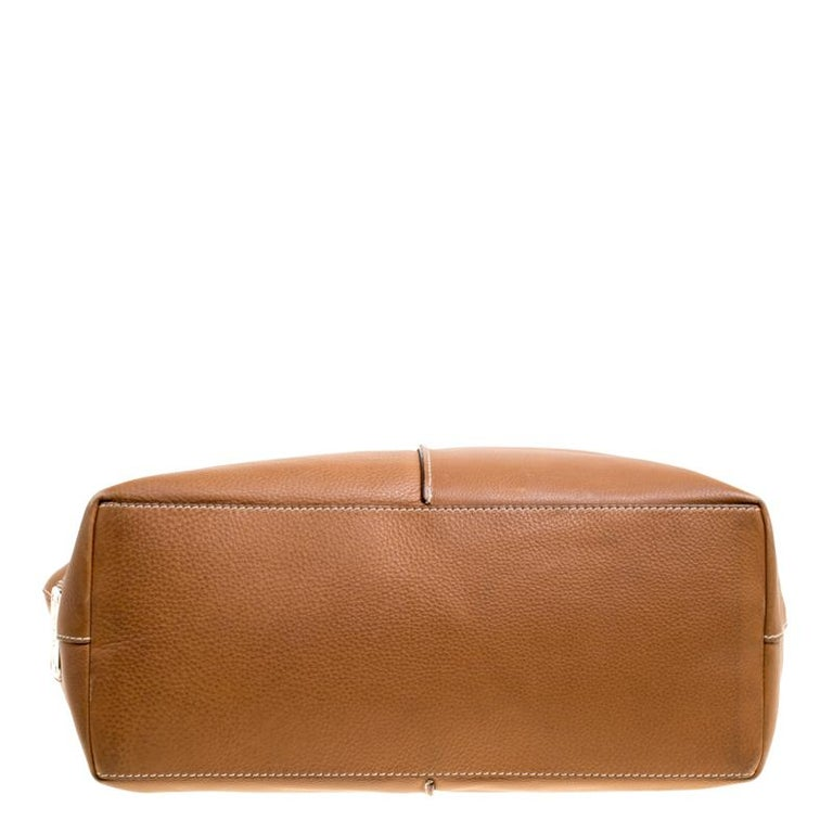 Tod's Brown Leather Grande Shopping Tote For Sale 2