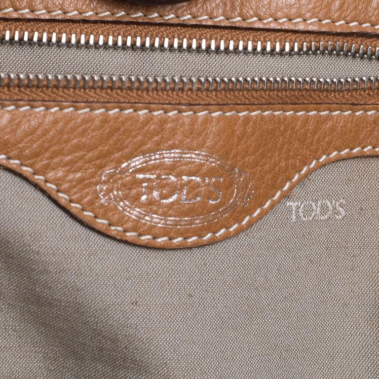 Tod's Brown Leather Grande Shopping Tote For Sale 5