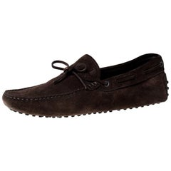 Tod's Brown Suede Bow Slip On Loafers Size 42