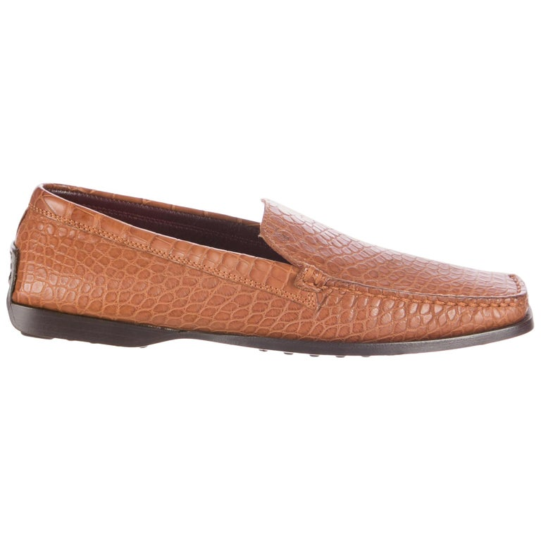 TOD'S Brown Welted Moccasins Loafers Shoes Alligator Crocodile Skin For Sale