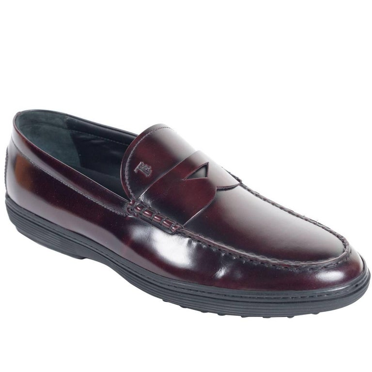 TODS Burgundy Leather Peter Penny Loafers Shoes