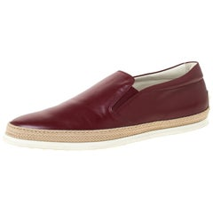 Tod's Burgundy Leather Slip On Espadrilles Sneakers Size 43