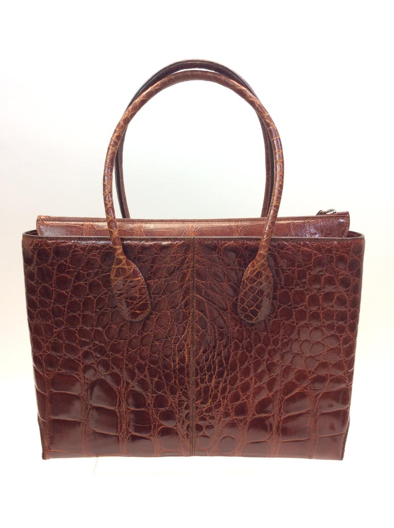Black Tod's Caramel Alligator Skin Tote For Sale