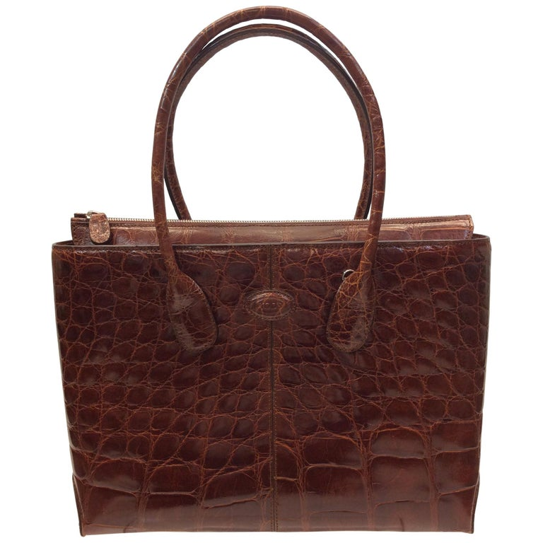 Tod's Caramel Alligator Skin Tote For Sale
