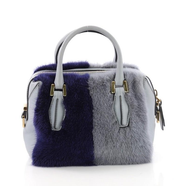 Tod's D Cube Convertible Bauletto Handbag Fur and Leather Mini In Fair Condition For Sale In New York, NY
