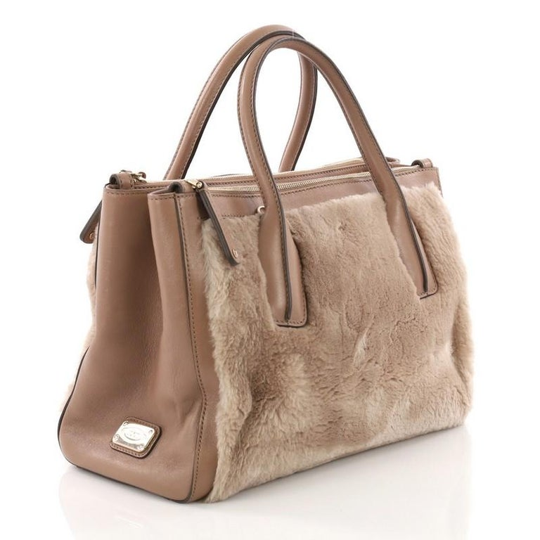 Brown Tod's D Cube Double Zip Tote Fur with Leather Small For Sale
