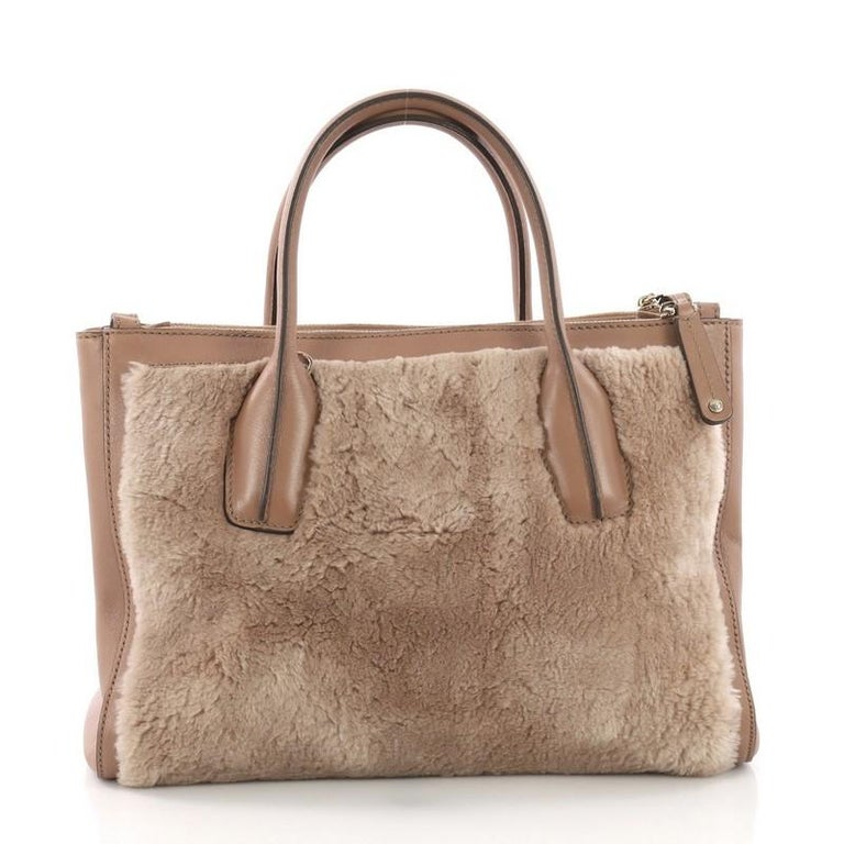 Tod's D Cube Double Zip Tote Fur with Leather Small In Good Condition For Sale In New York, NY