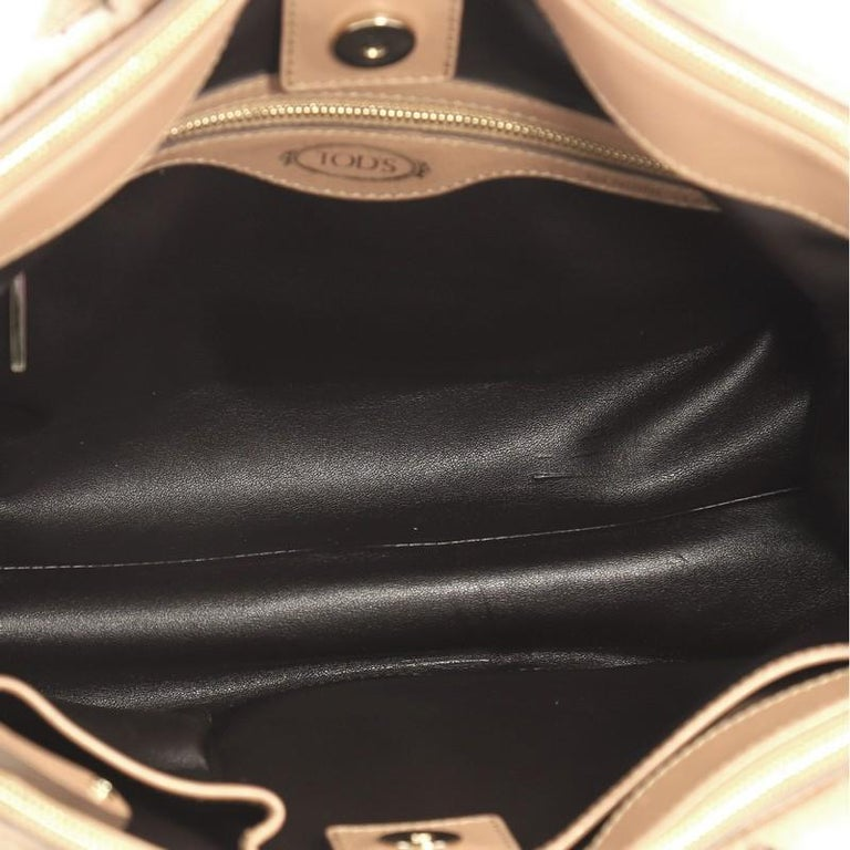Tod's D Cube Double Zip Tote Fur with Leather Small For Sale 1