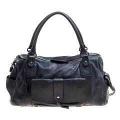 Tod's Dark Blue Leather Pockets Satchel