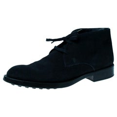 Tod's Dark Blue Suede Lace Up Desert Boots Size 44.5