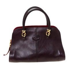 Tods Dark Brown Leather Sella Satchel