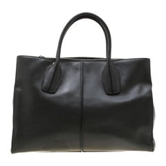 Tod's Dark Grey Leather D-Styling Shopper Tote
