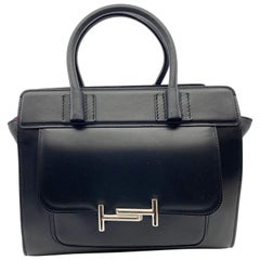 Tod's Double T Black Silver Smooth Leather Tote  Ladies Bag XBWAMUU0200PUP-B999