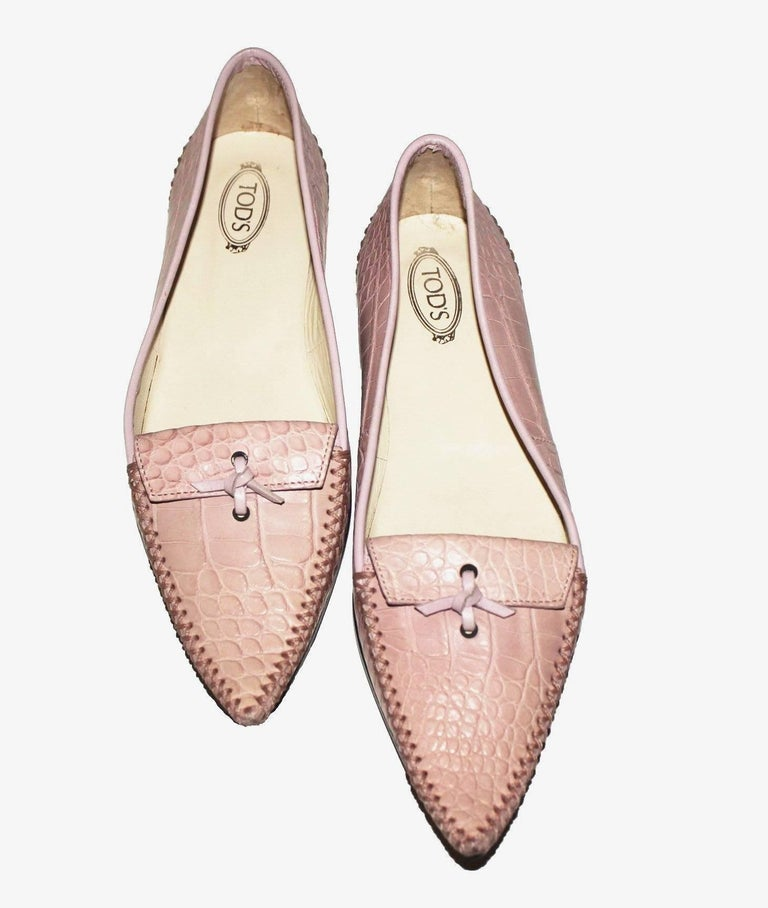 Women's TOD'S Exotic Crocodile Skin Pink Hand-sewn Moccassins Loafers Slippers For Sale
