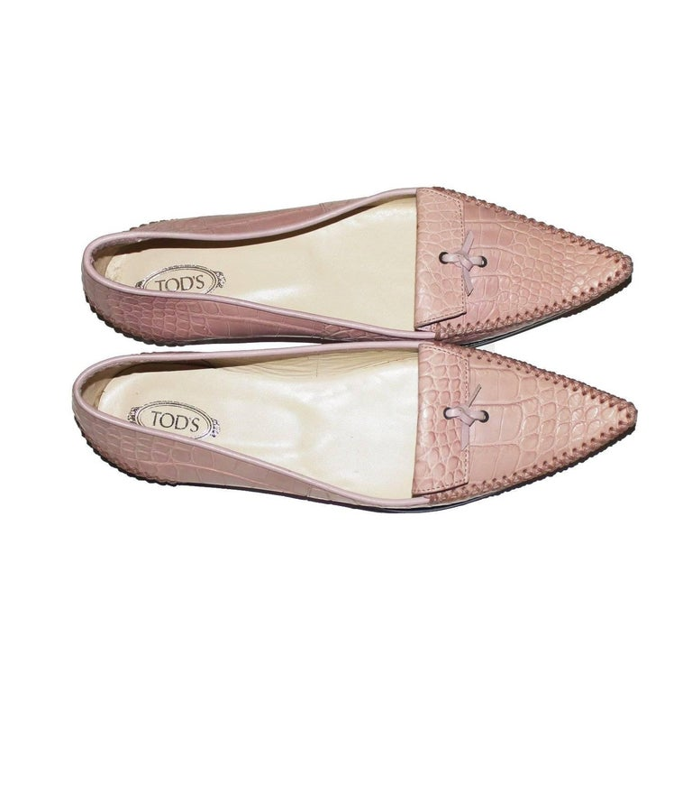 TOD'S Exotic Crocodile Skin Pink Hand-sewn Moccassins Loafers Slippers For Sale 1