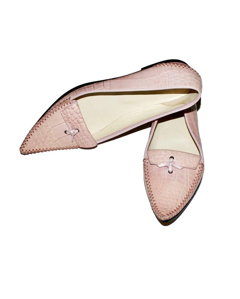 TOD'S Exotic Crocodile Skin Pink Hand-sewn Moccassins Loafers Slippers For Sale 2