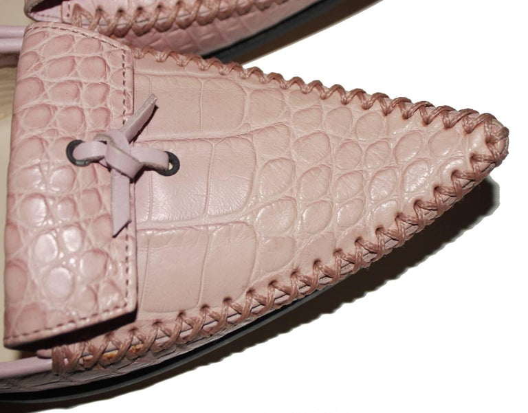 TOD'S Exotic Crocodile Skin Pink Hand-sewn Moccassins Loafers Slippers For Sale 3