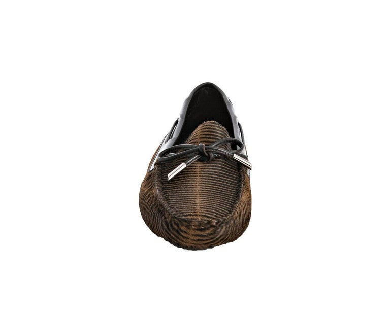 Black TOD'S Exotic Fur Hand-Sewn Moccassins Loafers Driving Shoes Slippers For Sale