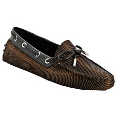 TOD'S Exotic Fur Hand-Sewn Moccassins Loafers Driving Shoes Slippers