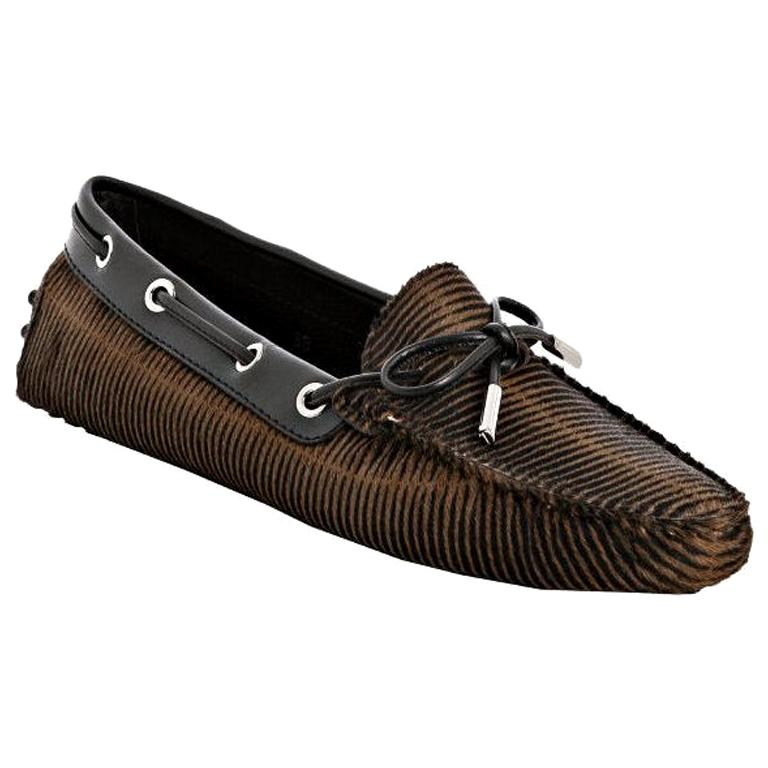 TOD'S Exotic Fur Hand-Sewn Moccassins Loafers Driving Shoes Slippers For Sale