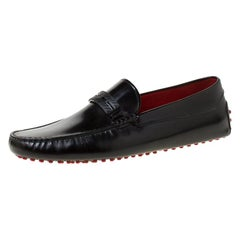 Tod's for Ferrari Black Leather Loafers Size 45