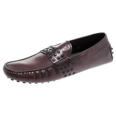 Tod's For Ferrari Dark Brown Leather Penny Loafers Size 45