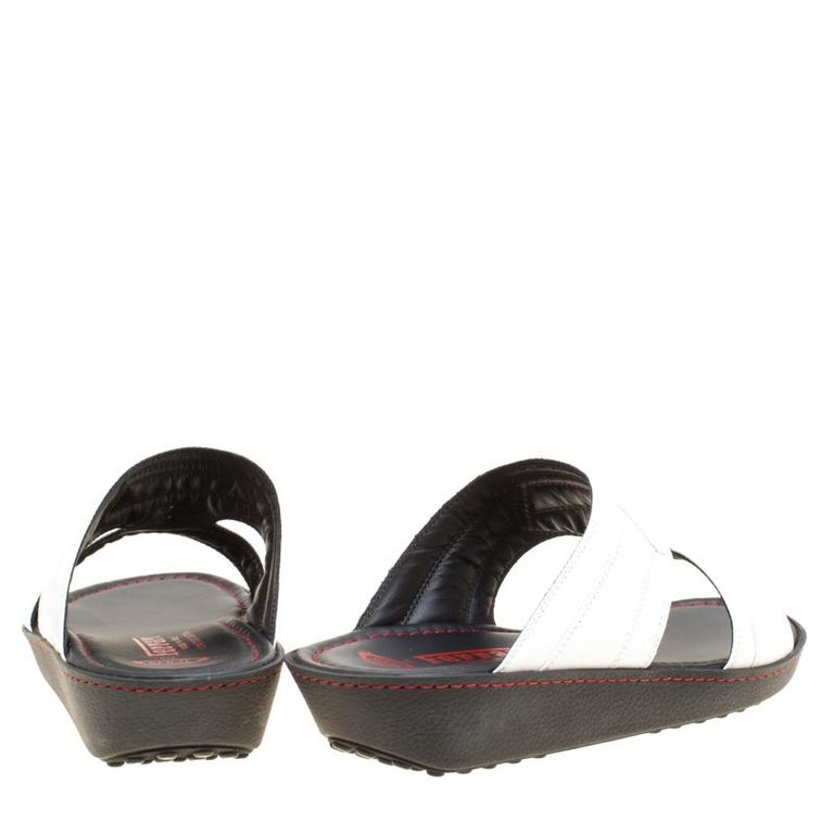 f6ca94e3e5fb Black Tod s for Ferrari Limited Edition White Leather Platform Slide  Sandals Size 40 For Sale