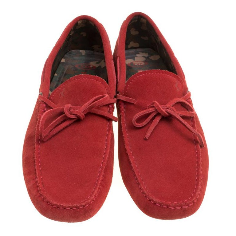 befb0a64c59 Tod s For Ferrari Red Suede with Camo Print Lining Bow Loafers Size ...