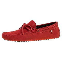 Tod's For Ferrari Red Suede with Camo Print Lining Bow Loafers Size 41.5