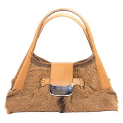 Tod's Goat Fur and Leather Hobo Handbag
