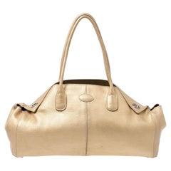 Tod's Gold Leather D Bag Media Tote
