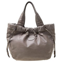 Tod's Grey Leather Drawstring Tote