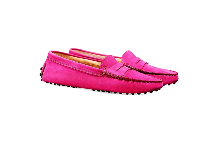 Women's Tod's Hot Fuchsia Pink Gommino Moccasins Loafers Driving Shoes For Sale