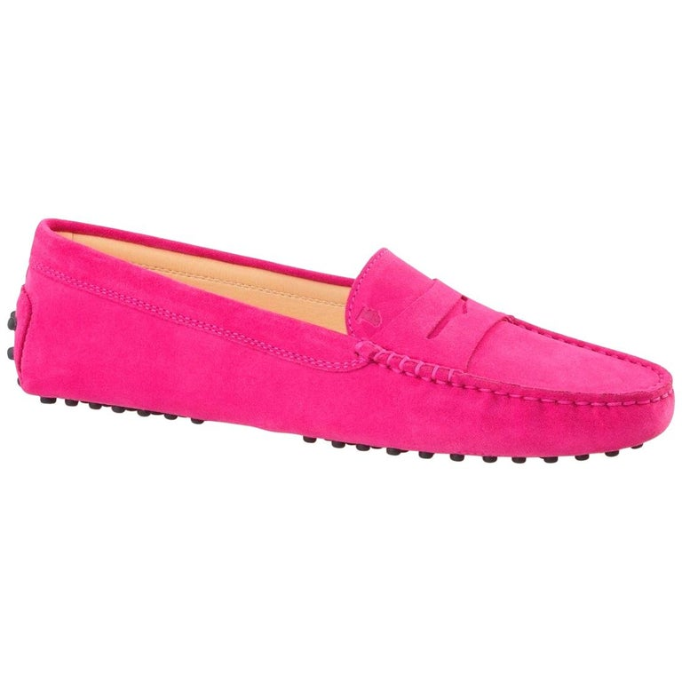 Tod's Hot Fuchsia Pink Gommino Moccasins Loafers Driving Shoes For Sale