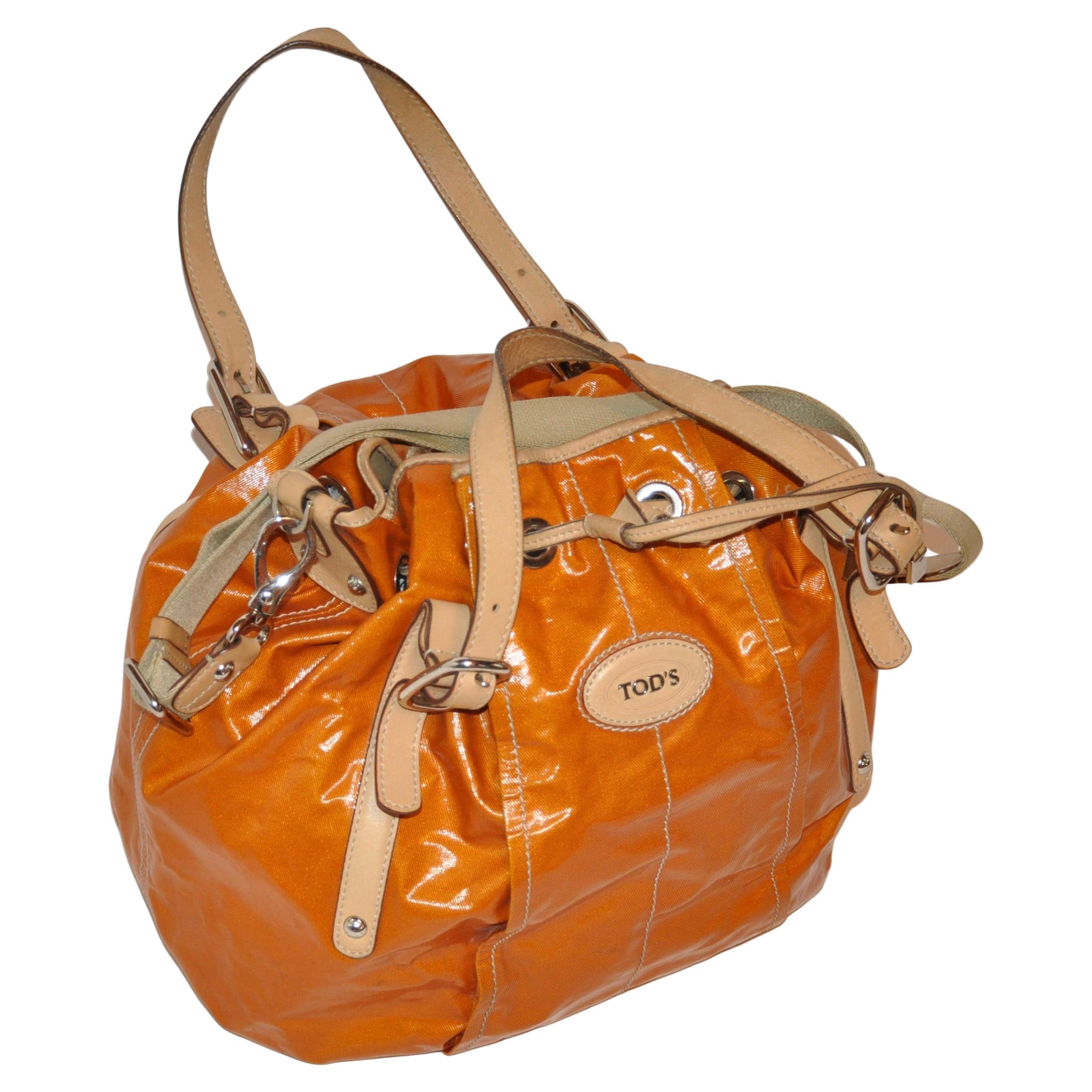 Tod's Large Warm Tangerine Lightweight Coated Canvas Drawstring Bag
