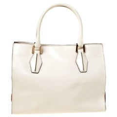 Tod's Light Beige/Burgundy Leather D-Cube Tote