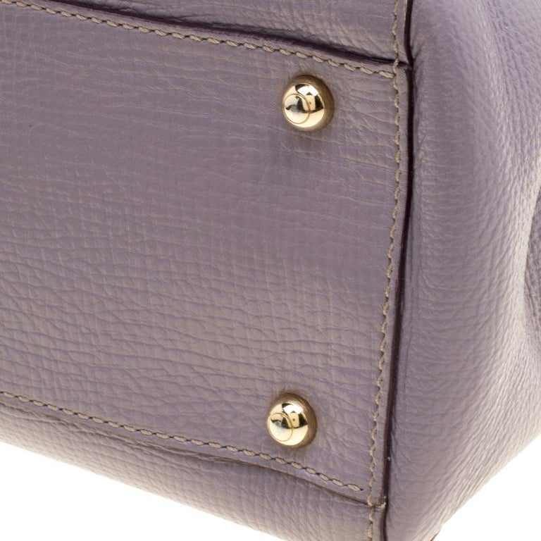 Tod's Lilac Leather D-Styling Shopper Tote For Sale 5