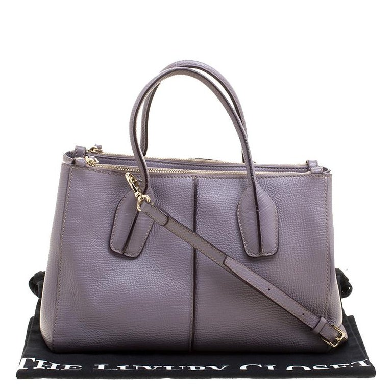 Tod's Lilac Leather D-Styling Shopper Tote For Sale 6