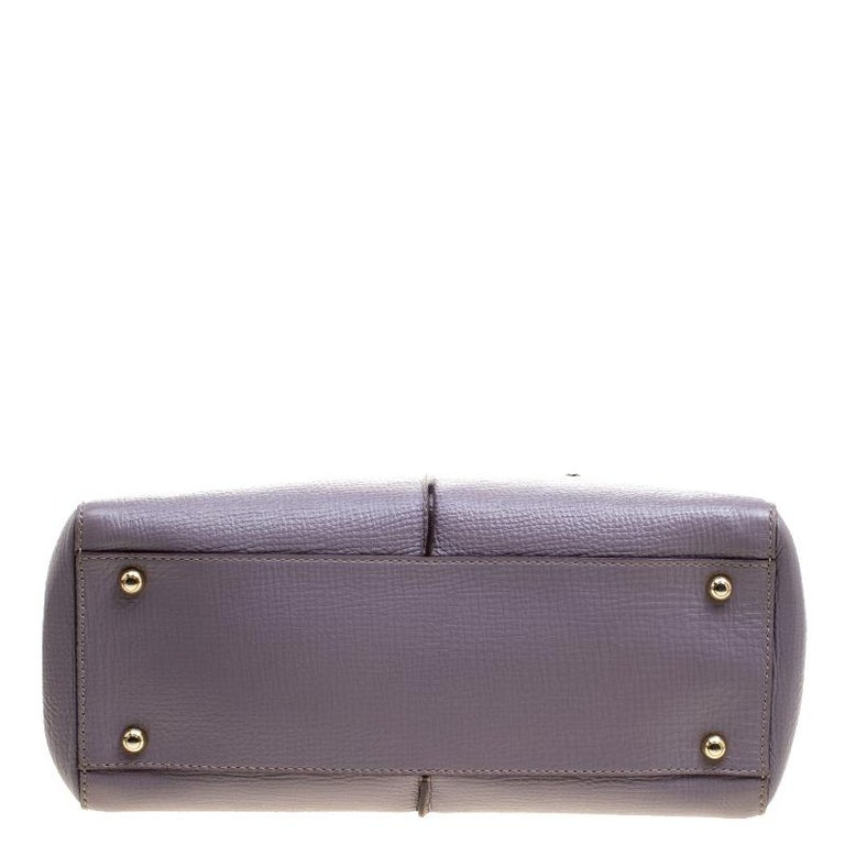 Tod's Lilac Leather D-Styling Shopper Tote For Sale 1