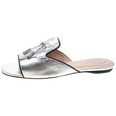 Tod's Limited Edition Metallic Silver Bow Peep Toe Flat Slides Size 37