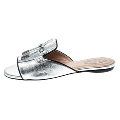 Tod's Limited Edition Metallic Silver Textured  Bow Peep Toe Flat Slides Size 37