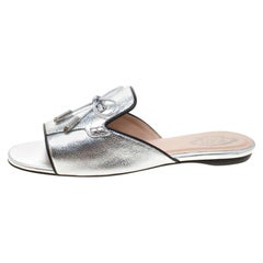 Tod's Limited Edition Metallic Silver Textured  Peep Toe Flat Slides Size 37