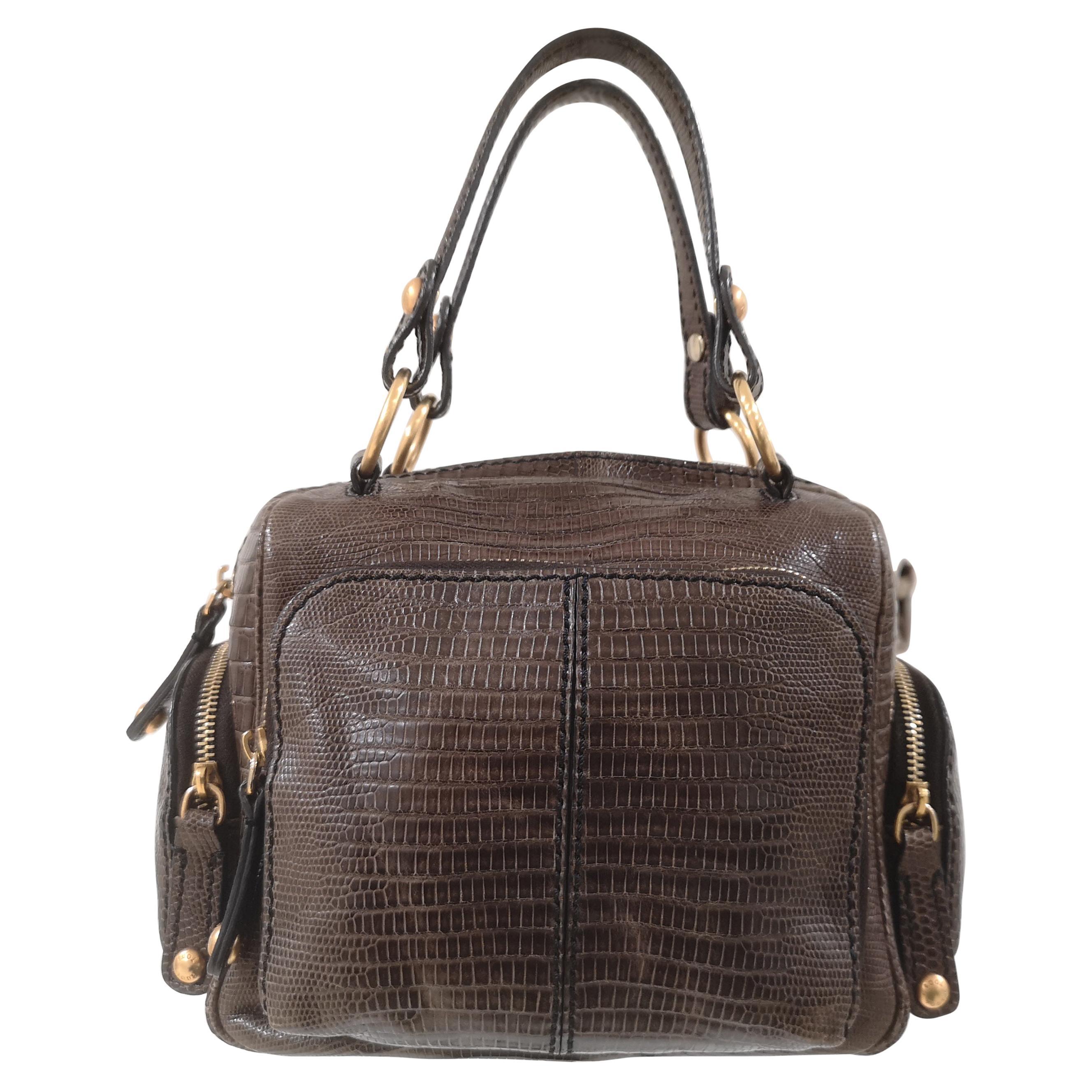 Tod's Lizard gold tone hardware handle shoulder bag